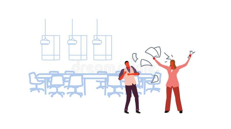 不满意的妇女上司投掷的纸张文件尖叫在沮丧的人工作者坏工作概念恼怒的雇主 向量例证