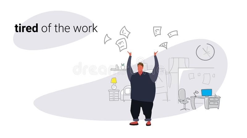 不满意的肥胖人上司投掷的纸张文件坏工作概念恼怒的超重商人雇主现代办公室 向量例证