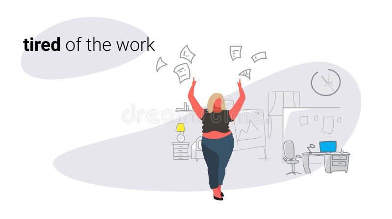 不满意的肥胖现代妇女上司投掷的纸张文件坏工作概念恼怒的超重女实业家的雇主 库存例证