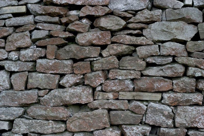 不用灰泥只用石块构造的石灰石墙壁 免版税库存照片