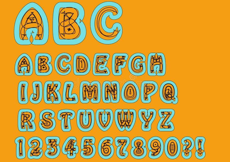 不符合传统规范的异常的字母表 与乱画元素、大写体字符和数字,问号, exclamati的原始的字体集合 库存例证