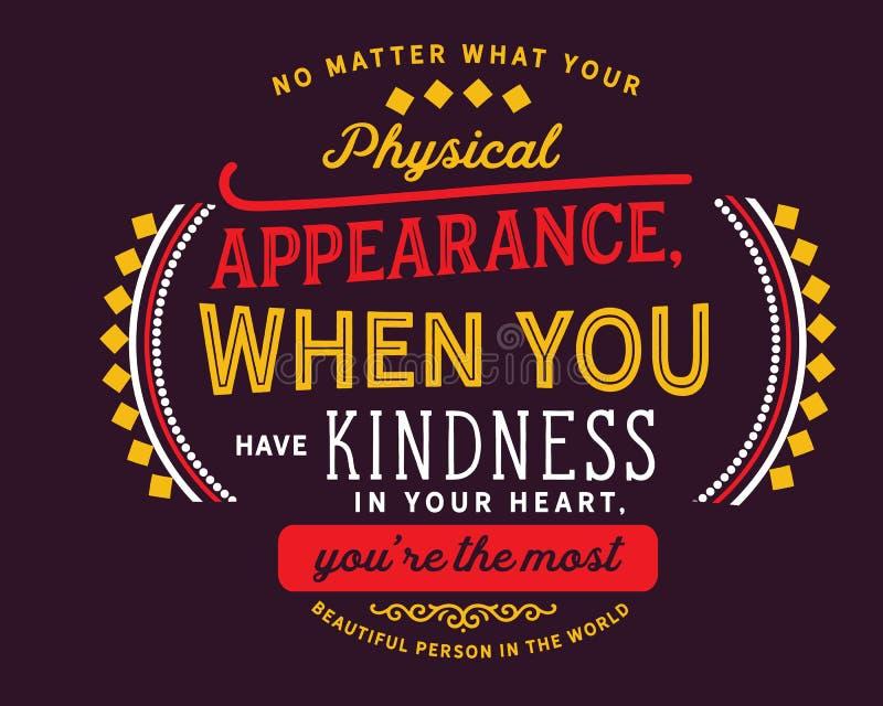 不管您的物理出现,当您有仁慈在您的心脏 皇族释放例证