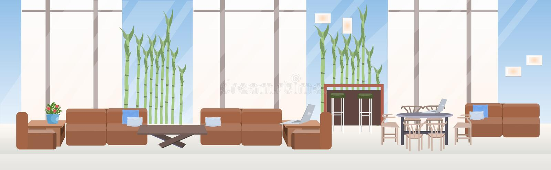 不要倒空人创造性的共同工作的中心当代工作区现代办公室内部平的水平的横幅 向量例证
