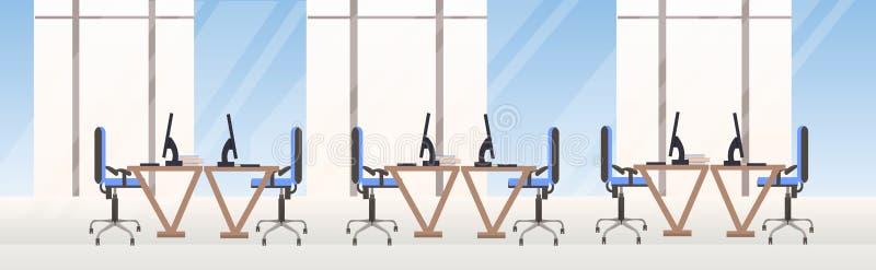 不要倒空人有计算机显示器办公室内部舱内甲板的双方工作区现代共同工作的中心工作场所书桌 向量例证