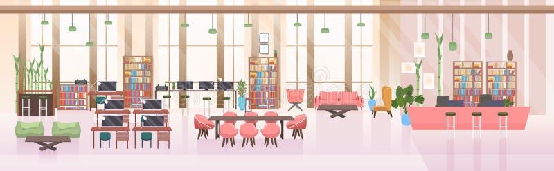 不要倒空人露天场所创造性的共同工作的中心现代工作场所办公室内部平的水平的横幅 皇族释放例证