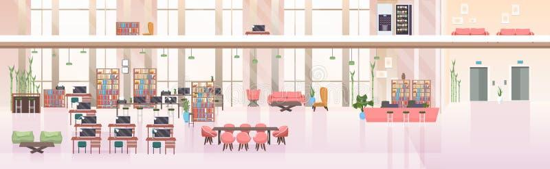 不要倒空人露天场所创造性的共同工作的中心现代工作场所办公室内部平的水平的横幅 向量例证