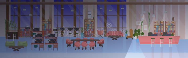 不要倒空人露天场所创造性的共同工作的中心现代工作场所夜办公室内部平的水平的横幅 向量例证