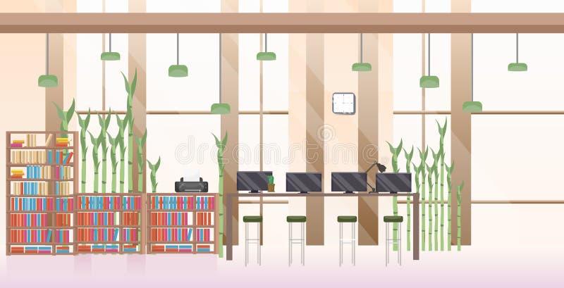 不要倒空平展水平人露天场所创造性的共同工作的中心现代工作场所办公室的内部 皇族释放例证
