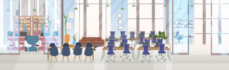不要倒空有圆桌工作场所和介绍概念的人创造性的共同工作的中心会议训练室 皇族释放例证