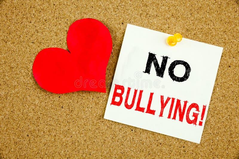 不要停止胁迫恶霸预防反对学校工作或在网络互联网骚扰 免版税库存照片