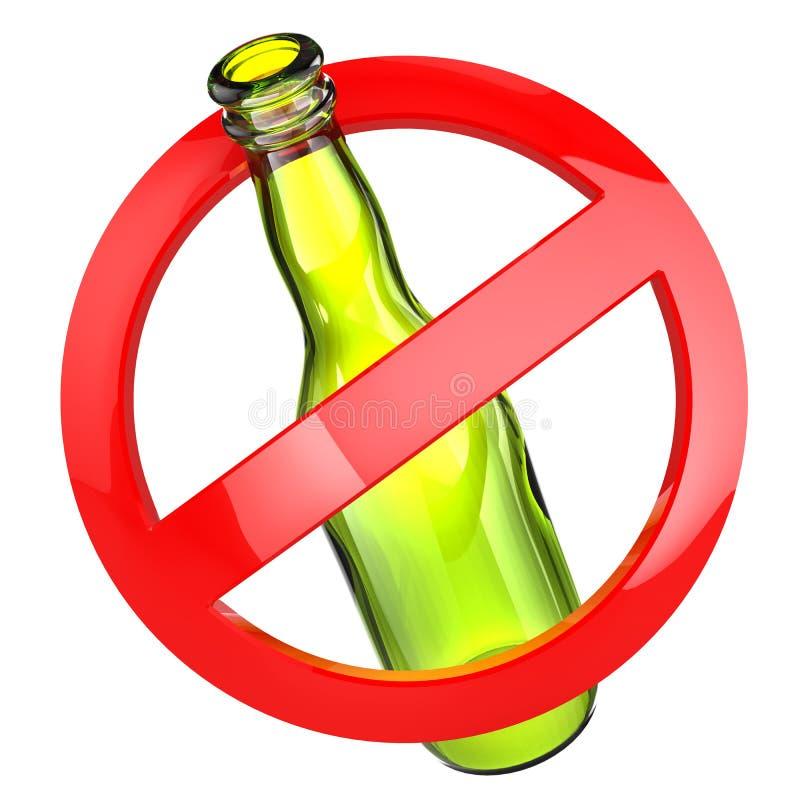 不要停止酒精或玻璃标志 在白色被隔绝的backgro的瓶 库存例证