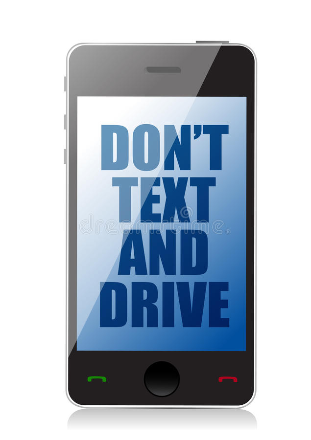 不要发短信给并且不要驾驶细胞消息 向量例证