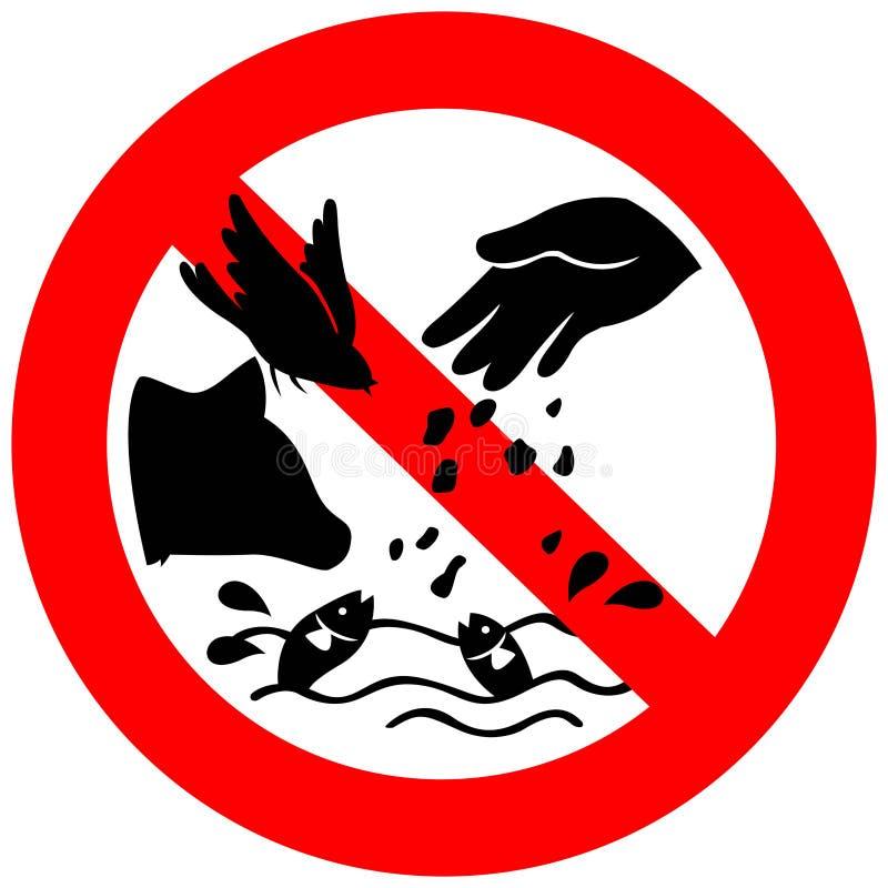 不要哺养动物标志包括鸟、鱼和狗, creat 向量例证