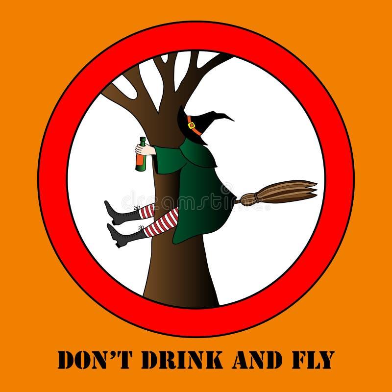 不要喝并且不要飞行传染媒介万圣夜例证 向量例证