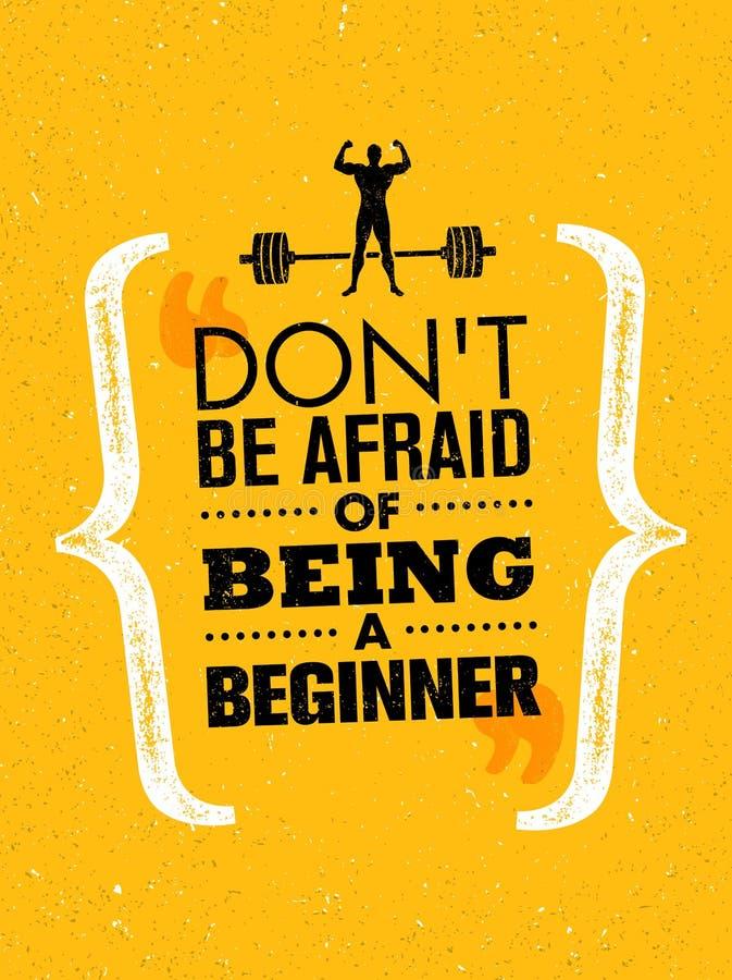 不要害怕是初学者 体育和健身创造性的刺激传染媒介设计横幅 活跃锻炼概念 库存例证