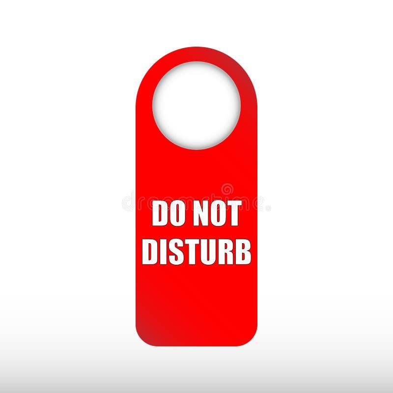 不要干扰标志-在白色背景隔绝的红色旅馆门报警信息 皇族释放例证