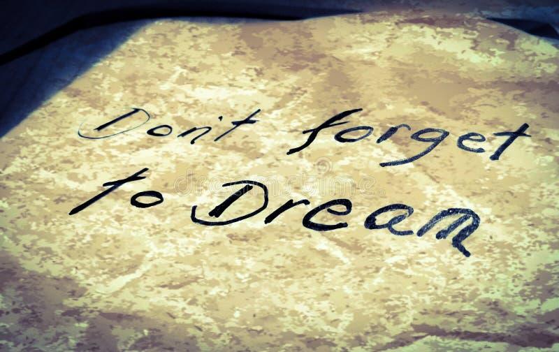不要忘记作梦 库存图片