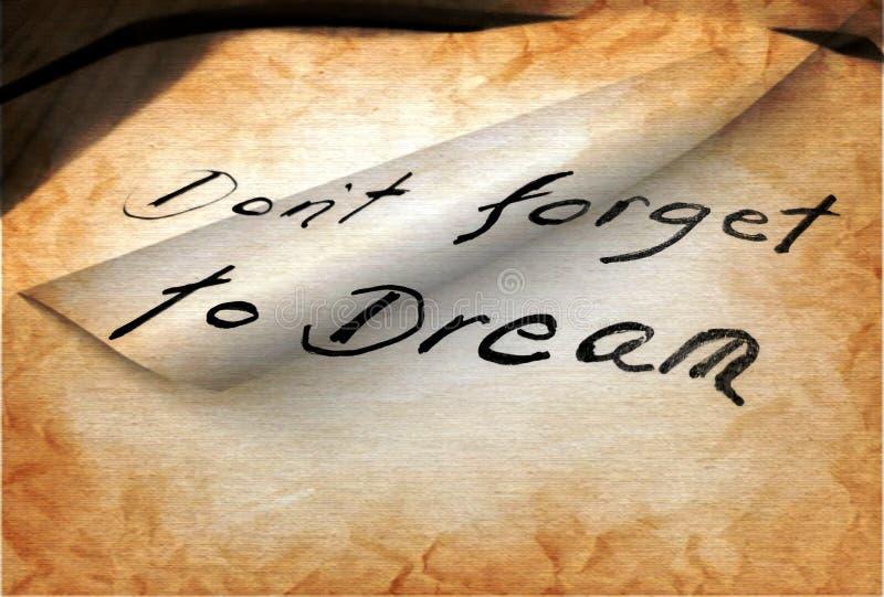 不要忘记作梦 库存照片