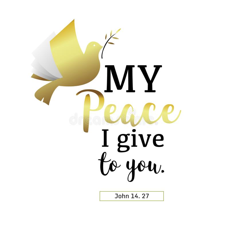 不要恐惧给您基督徒手在Bibl上写字的我的我的和平 向量例证