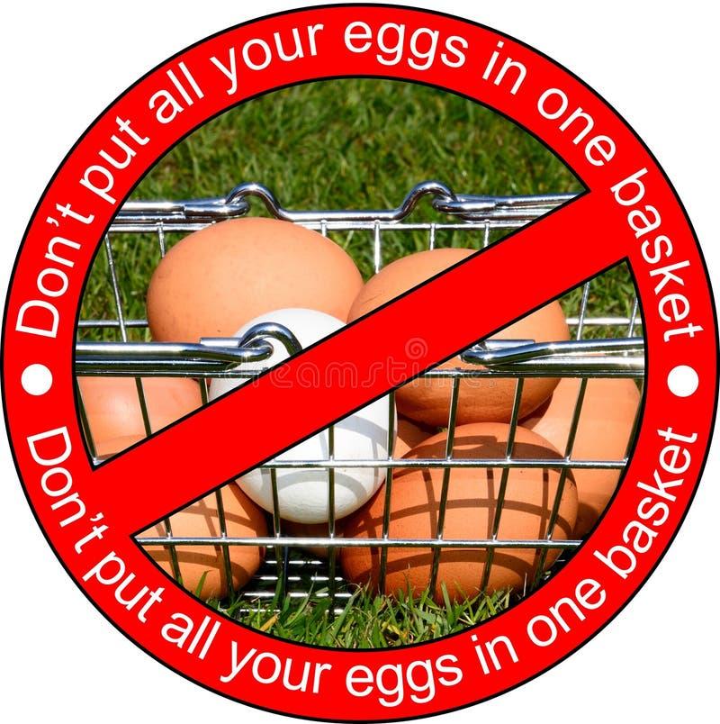 不要投入所有您的鸡蛋在一个篮子 库存照片