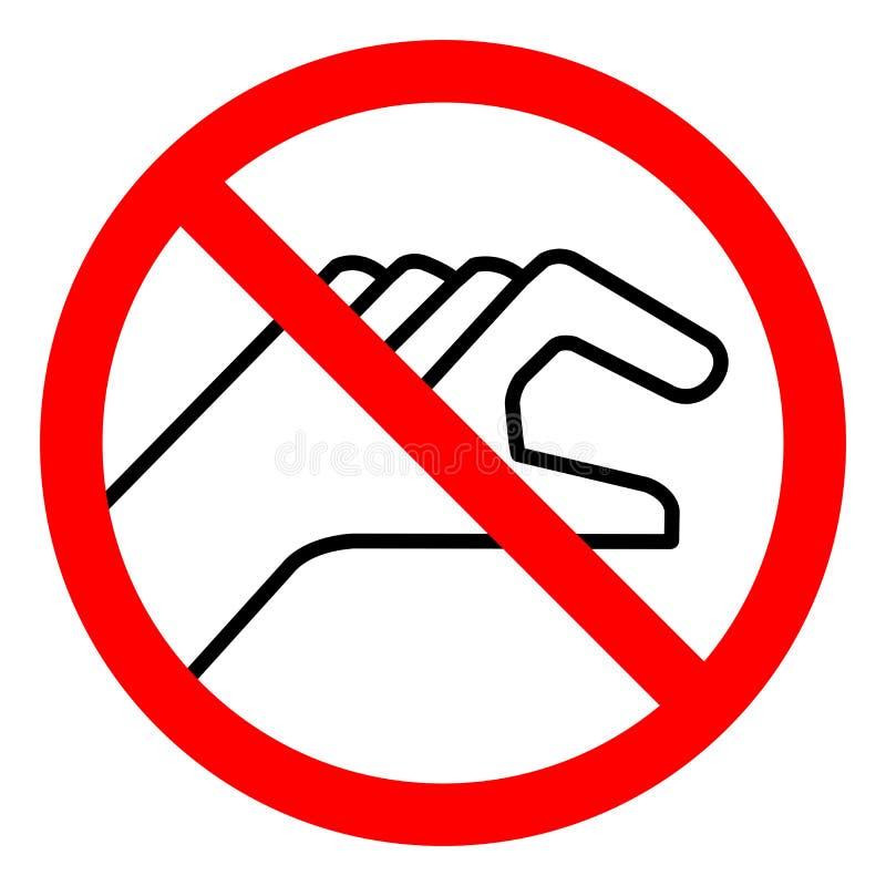 不要接触标志标志,传染媒介例证,在白色背景标签的孤立 EPS10 皇族释放例证