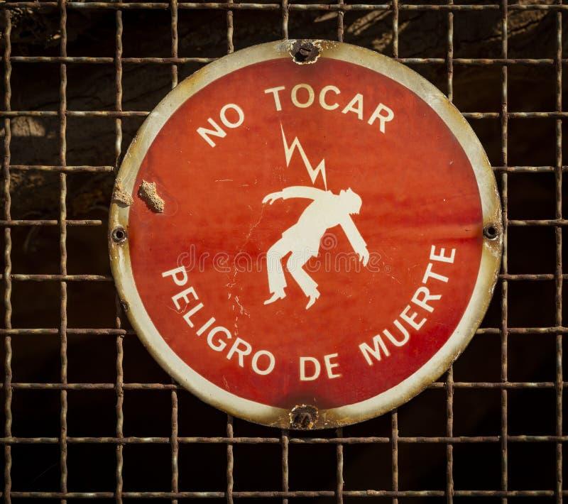不要接触-死亡警报信号的危险 库存照片