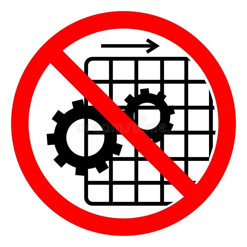 不要操作与卫兵被去除的标志标志,传染媒介例证,在白色背景标签的孤立 EPS10 向量例证