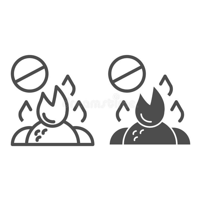 不要烧废物线和纵的沟纹象 在白色隔绝的燃烧的垃圾禁令传染媒介例证 禁止的篝火 库存例证