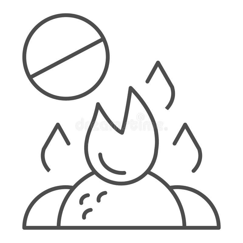 不要烧废稀薄的线象 在白色隔绝的燃烧的垃圾禁令传染媒介例证 禁止的篝火概述 库存例证