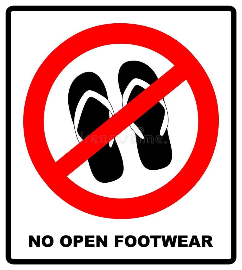 不要签署凉鞋 在白色背景的没有拖鞋红色禁止飞机象 禁令触发器 背景明亮的例证桔子股票 皇族释放例证