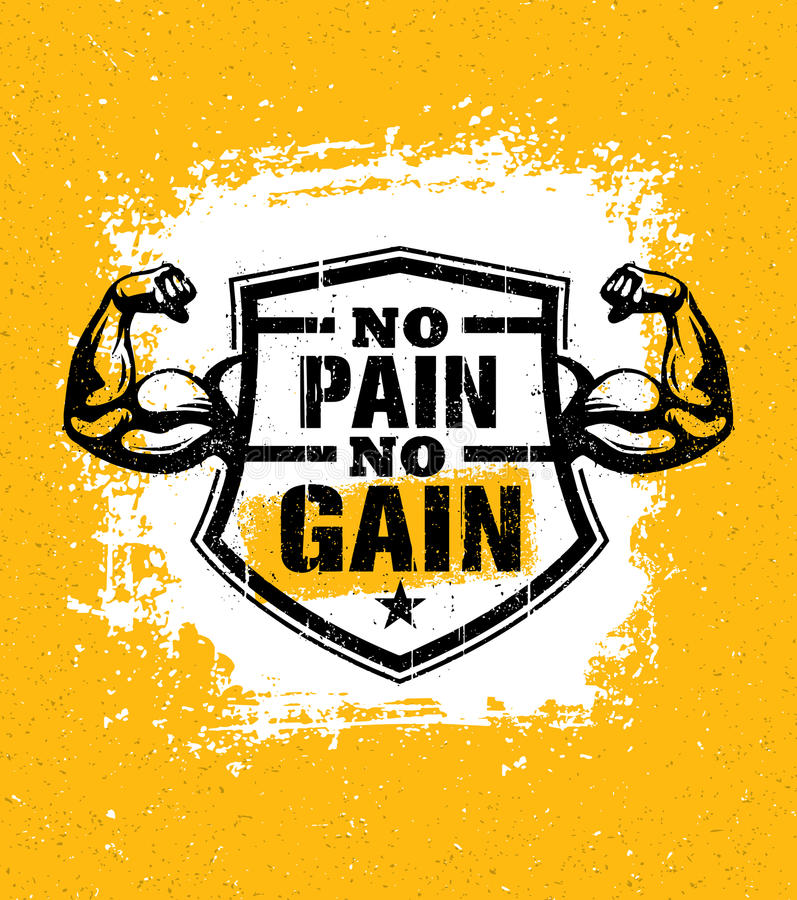 不要获取痛苦 健身房锻炼刺激行情传染媒介概念 体育健身启发标志 肌肉胳膊 向量例证