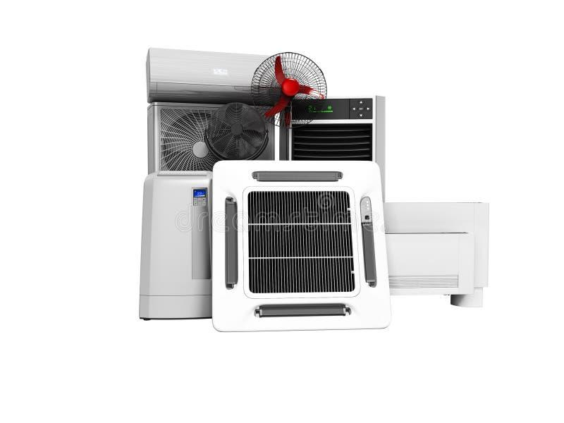 不要设置冷却设备空调地板爱好者地板空调3d回报在白色背景阴影 向量例证