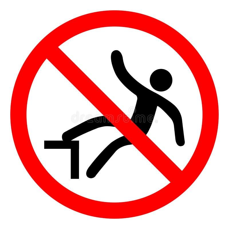 不要跨步在标志标志,传染媒介例证,在白色背景标签的孤立 EPS10 向量例证