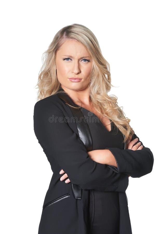 给不许可的神色的美丽的白肤金发的busines妇女,被隔绝 免版税库存图片
