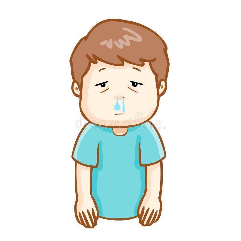 不适的人流鼻水动画片 库存例证