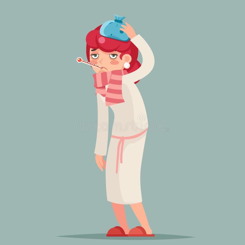不适的女性冷的病毒流感疾病病症病态的医学妇女卡通人物设计传染媒介例证 向量例证