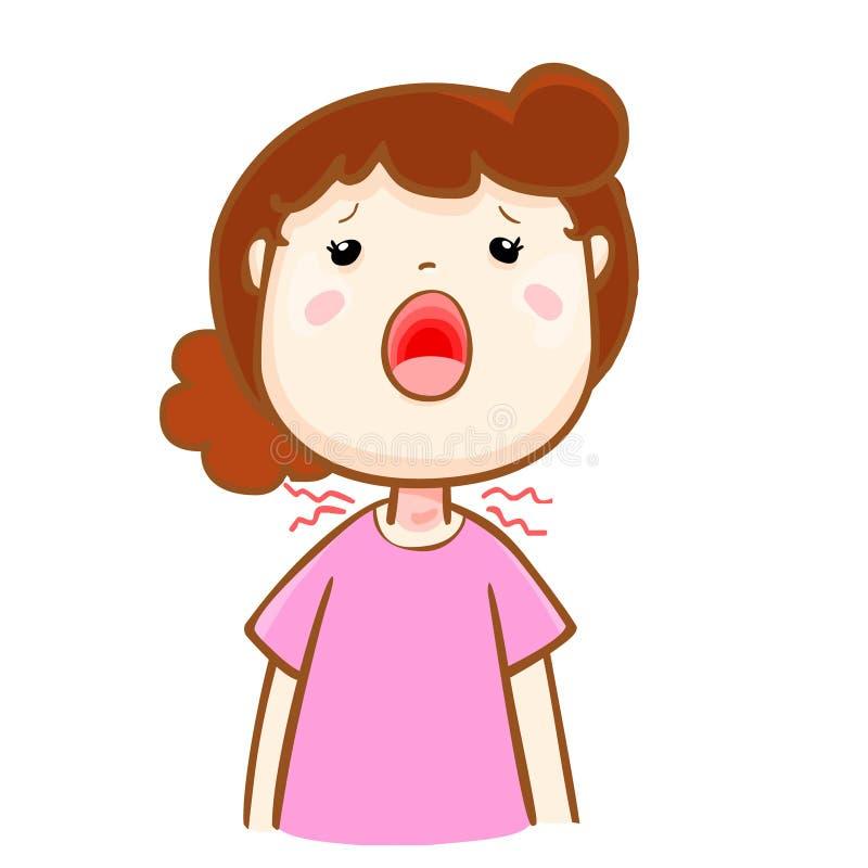 不适的妇女喉咙痛动画片 皇族释放例证