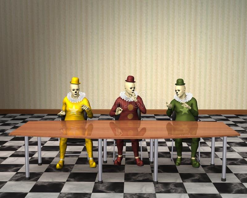 不道德的行为销售小丑的会议销售 向量例证