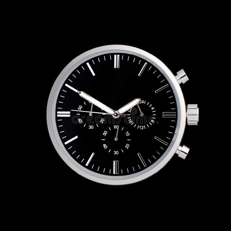 不锈钢与黑拨号盘的手表前面 库存照片