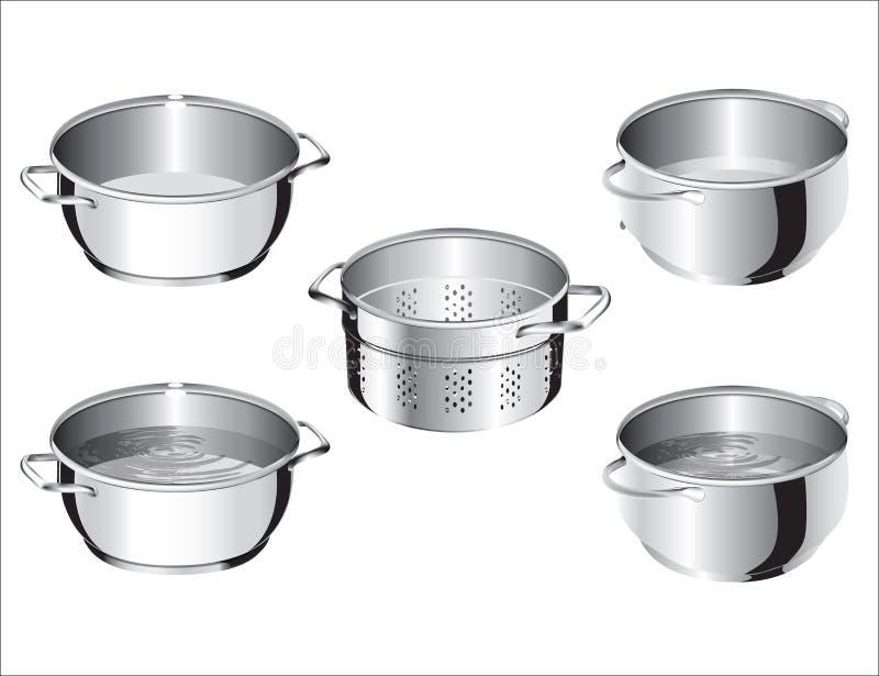 不锈钢厨师平底锅 向量例证