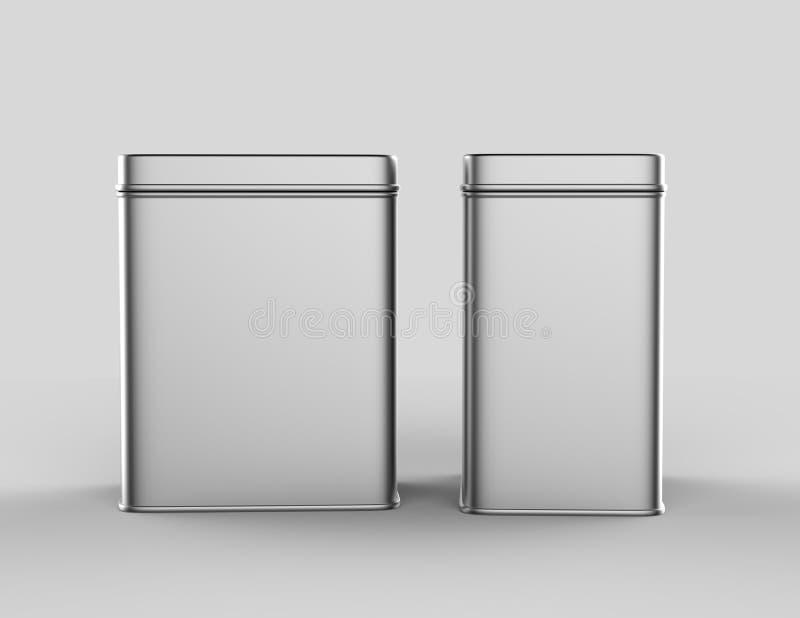 不锈钢或在嘲笑和成套设计的白色背景隔绝的罐子金属发光的银色箱子容器 3D r 向量例证
