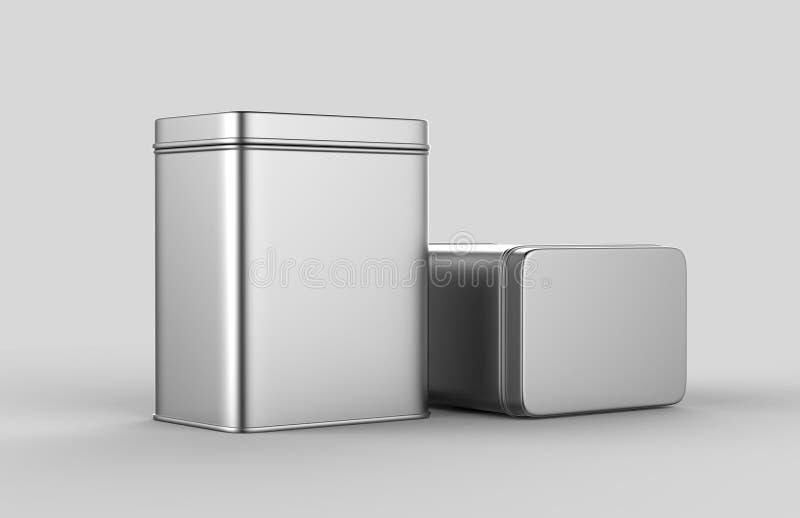 不锈钢或在嘲笑和成套设计的白色背景隔绝的罐子金属发光的银色箱子容器 3D r 库存例证