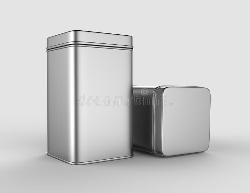 不锈钢或在嘲笑和成套设计的白色背景隔绝的罐子金属发光的银色箱子容器 3D r 皇族释放例证