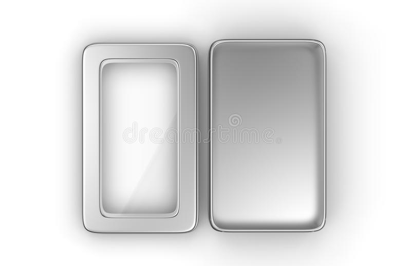不锈钢或罐子金属发光的银色箱子容器有窗口盒盖的在白色背景嘲笑和包装的Des的 向量例证