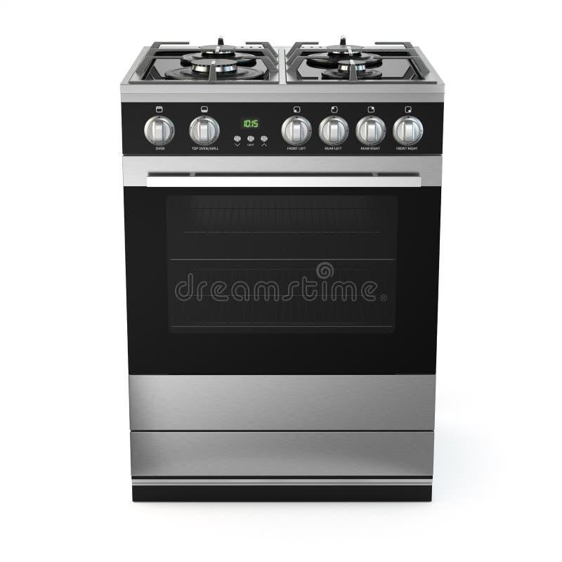 不锈钢有在白色隔绝的烤箱的煤气灶 向量例证