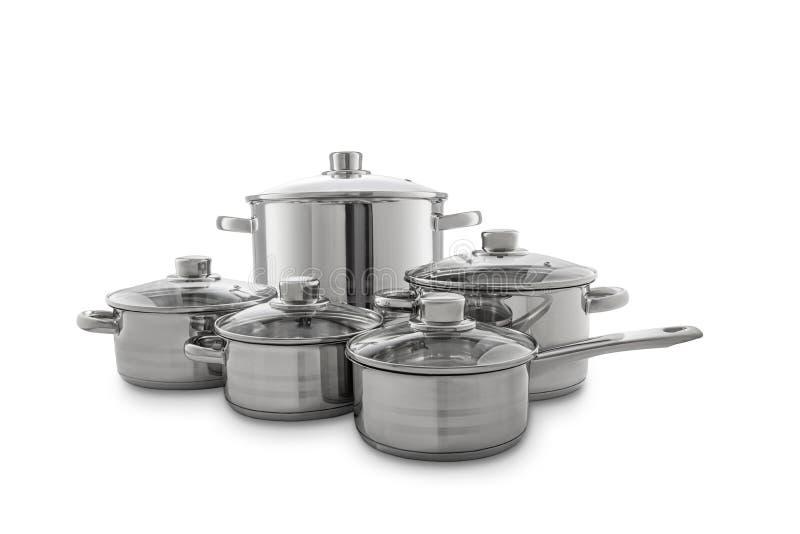 不锈钢烹调罐,在白色背景隔绝的平底锅,裁减路线 免版税库存照片