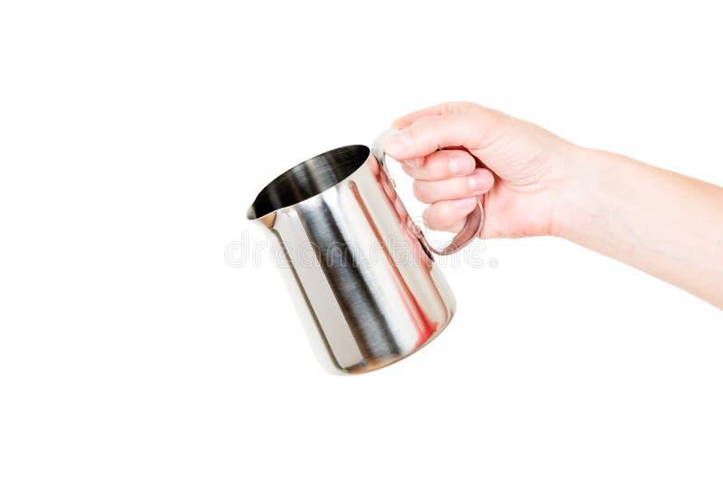Download 不锈钢牛奶在白色在手中隔绝的锅炉水罐 库存图片. 图片 包括有 生气勃勃, 水罐, 食物, 液体, 干净 - 59110913