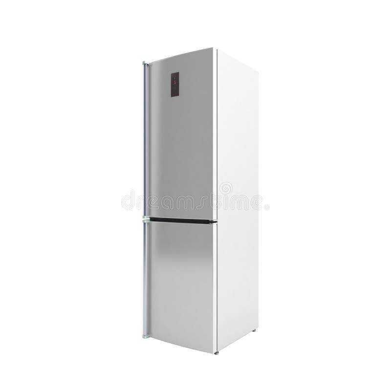 不锈钢现代冰箱3d例证没有阴影 皇族释放例证