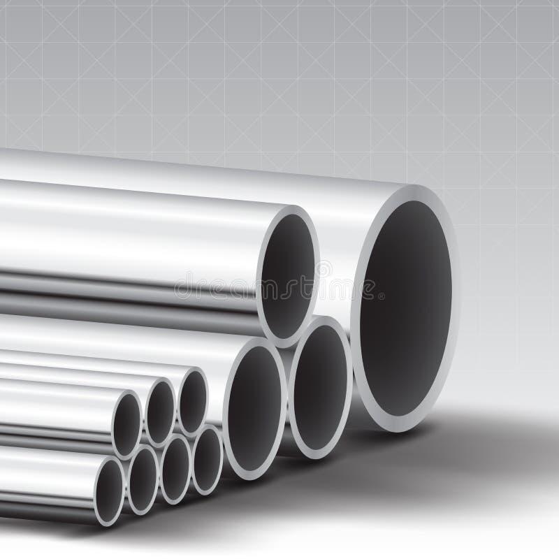 不锈钢管子背景 库存例证