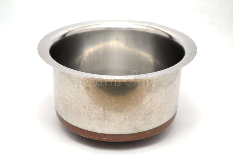 不锈钢罐和厨具 免版税库存照片